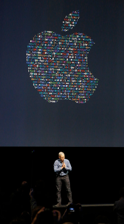 . Tim Cook, Apple CEO, opens the Apple Worldwide Developer Conference keynote presentation held at the Bill Graham Civic Auditorium in San Francisco, Calif., on Monday, June 13, 2016. (Laura A. Oda/Bay Area News Group)