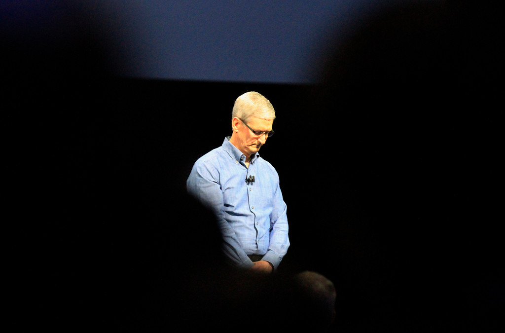 . Apple CEO Time Cook leads a moment of silence for the victims of the Orlando shooting at the opening of the Apple Worldwide Developer Conference held at the Bill Graham Civic Auditorium in San Francisco, Calif., on Monday, June 13, 2016. (Laura A. Oda/Bay Area News Group)