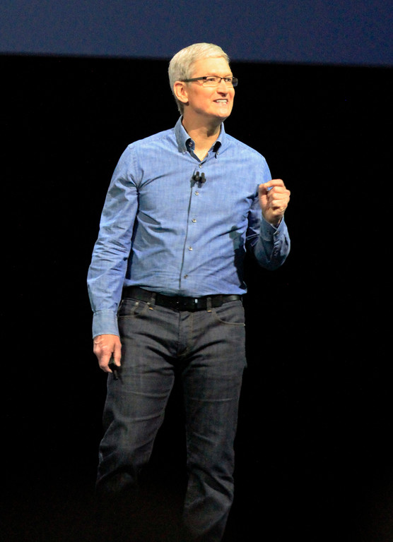 . Apple CEO Tim Cook makes closing remarks at the keynote presentation for the Apple Worldwide Developer Conference held at the Bill Graham Civic Auditorium in San Francisco, Calif., on Monday, June 13, 2016. (Laura A. Oda/Bay Area News Group)