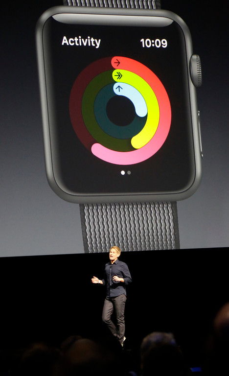 . Jay Blahnik, director of fitness and health technologies for the Apple Watch, introduces the new activity features on the watchOS at the Apple Worldwide Developer Conference held at the Bill Graham Civic Auditorium in San Francisco, Calif., on Monday, June 13, 2016. (Laura A. Oda/Bay Area News Group)