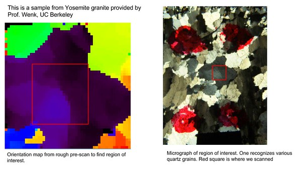 Images showing Yosemite granite obtained at the beamline using the Advanced Light Source technology at the Lawrence Berkeley National Laboratory in Berkeley, Calif., on Thursday, March 12, 2015.  (Courtesy of Prof. Hans-Rudolph Wenk/Lawrence Berkeley National Laboratory)