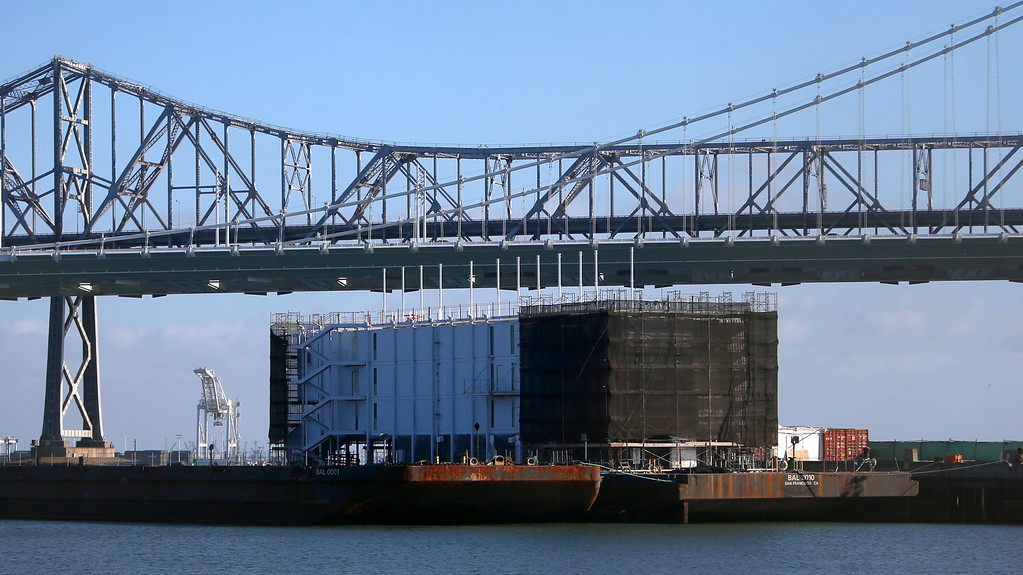 . A mystery barge along Pier 1 in Treasure Island, Calif. on Monday, October 28, 2013.  (Nhat V. Meyer/Bay Area News Group)