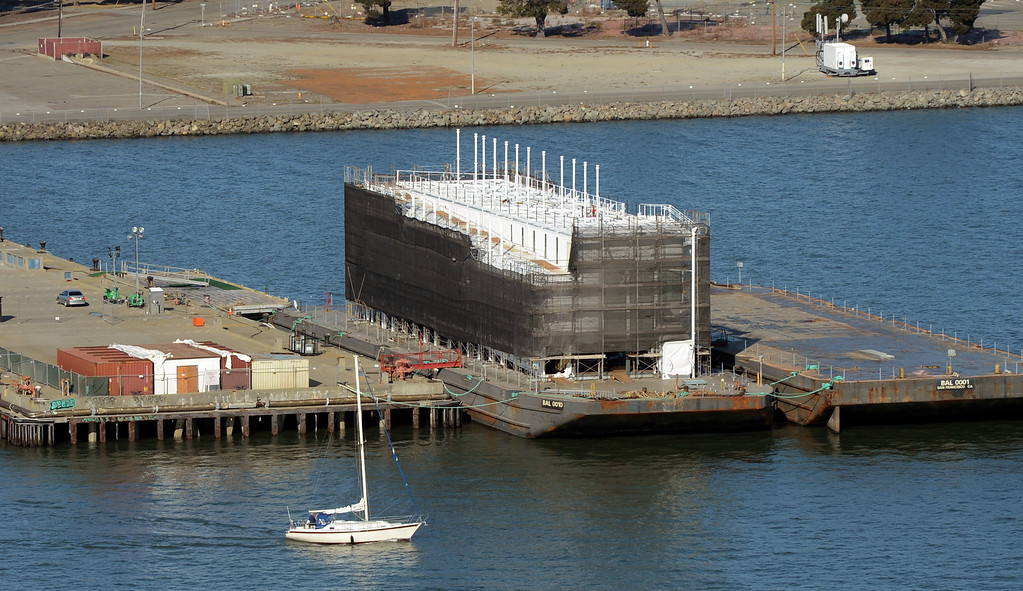 . Google\'s mysterious four-story structure sits atop a barge at Treasure Island on Friday, Nov. 1, 2013. (Karl Mondon/Bay Area News Group)