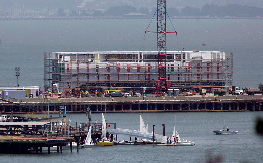 . A mysterious structure is under construction atop a barge docked at a Treasure Island pier July 2, 2013. In late October, reports that this may be some type of Google project began surfacing. (Karl Mondon/Bay Area News Group)