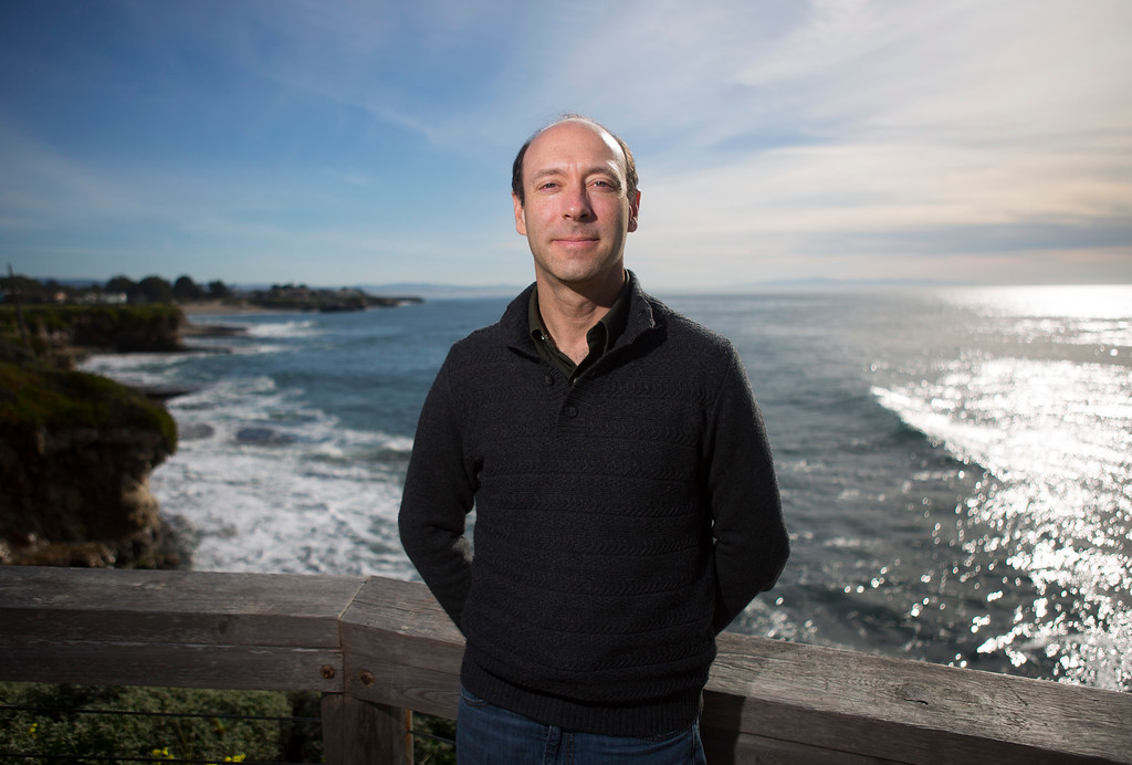 . Professor Chris Edwards, of UC Santa Cruz, is photographed near the Seymour Marine Discovery Center in Santa Cruz, Calif., Tuesday, Feb. 23, 2016. Edwards is working with fellow researcher Steve Haddock who  developed an app that allows people to help them track the rise and fall of jellyfish populations world wide. When people encounter certain types of jellyfish, they use the app, called JellyWatch, to post where they saw the jellyfish, wherever they happen to be in the world. (Patrick Tehan/Bay Area News Group)