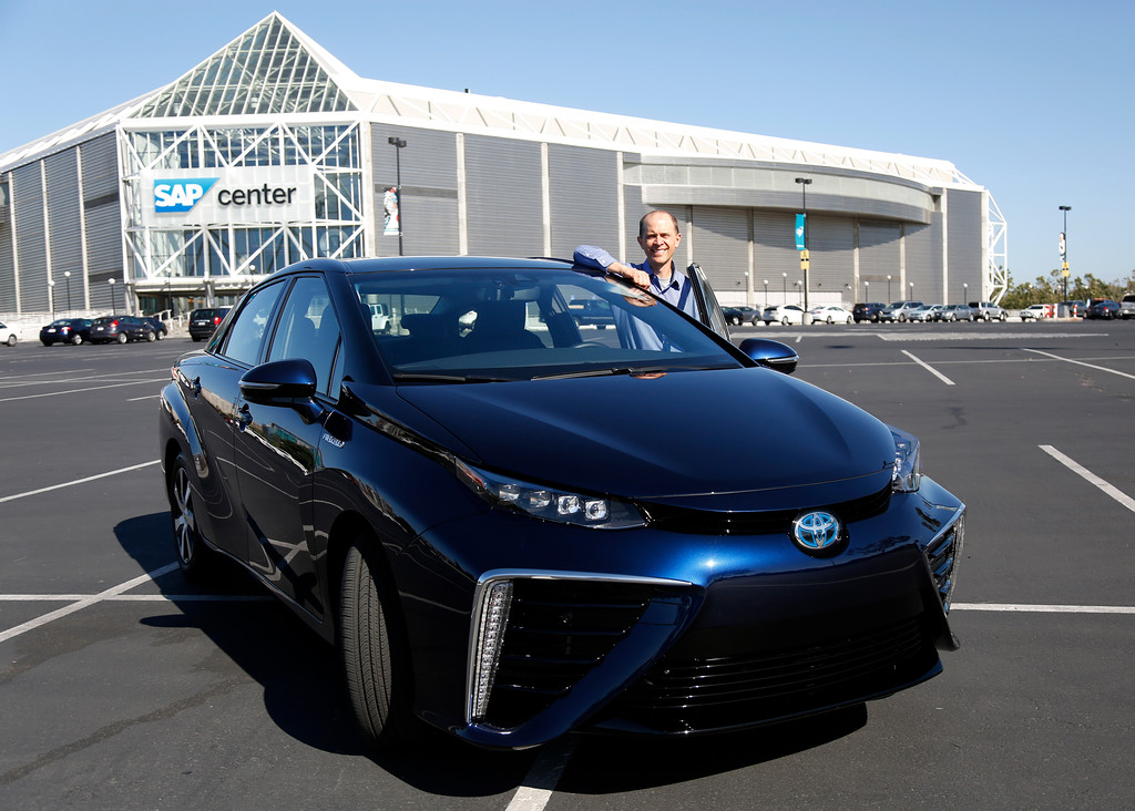 . Troy Wolverton, Mercury News technology columnist, is photographed with the 2016 Toyota Mirai, a hydrogen fuel cell vehicle, in San Jose, Calif., on Wednesday, June 22, 2016. (Nhat V. Meyer/Bay Area News Group)