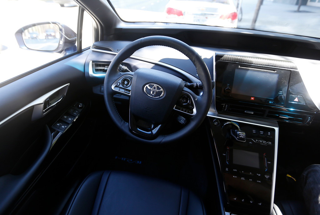 . The interior of the  2016 Toyota Mirai, a hydrogen fuel cell vehicle, in San Jose, Calif., on Wednesday, June 22, 2016. (Nhat V. Meyer/Bay Area News Group)