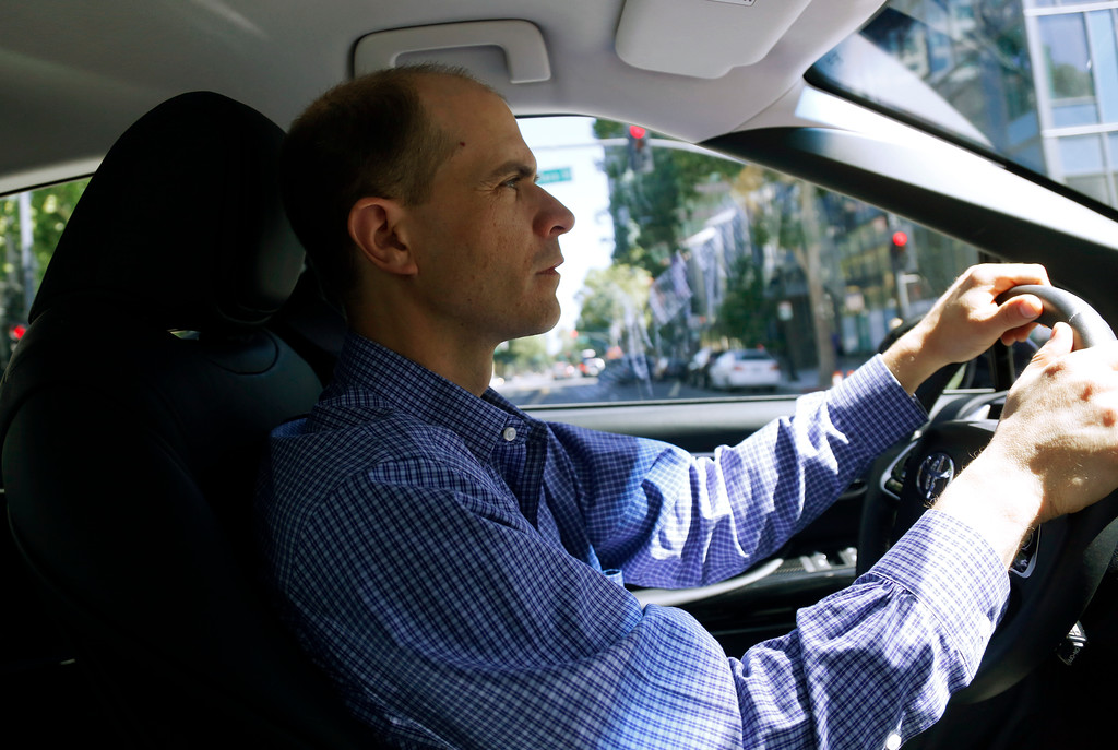 . Troy Wolverton, Mercury News technology columnist, drives the 2016 Toyota Mirai, a hydrogen fuel cell vehicle, in San Jose, Calif., on Wednesday, June 22, 2016. (Nhat V. Meyer/Bay Area News Group)