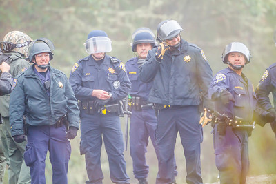 Another grouping of CHP officers at the second/third tree sit locations Photo by Steve Eberhard