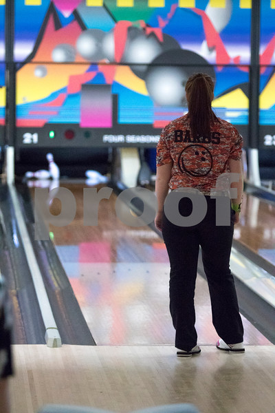 Sam Buckner for Shaw Media.<br /> DeKalb's Taylor Mershon watches the pins fall over at the NI Big 12 regional meet on Thursday February 2, 2017.