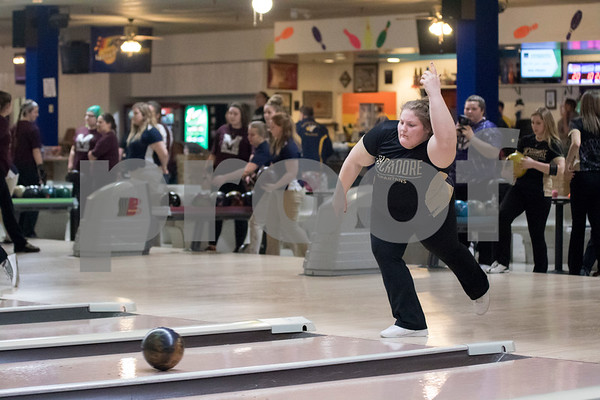 Sam Buckner for Shaw Media.<br /> Sycamore's Lanni Howerton throws the ball down the lane in the NI BIG 12 regional bowling tournament on Thursday February 2, 2017.