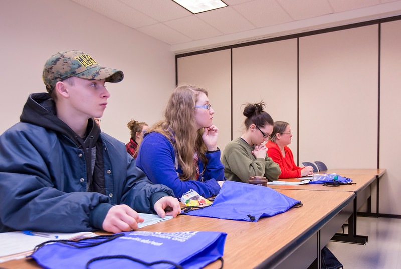 Carrie Garland — The News-Herald <br> Guests listen attentively to one of the informational sessions at Free College Day on Feb. 4, 2017 at Lakeland East Off-Site Center in Madison Village.