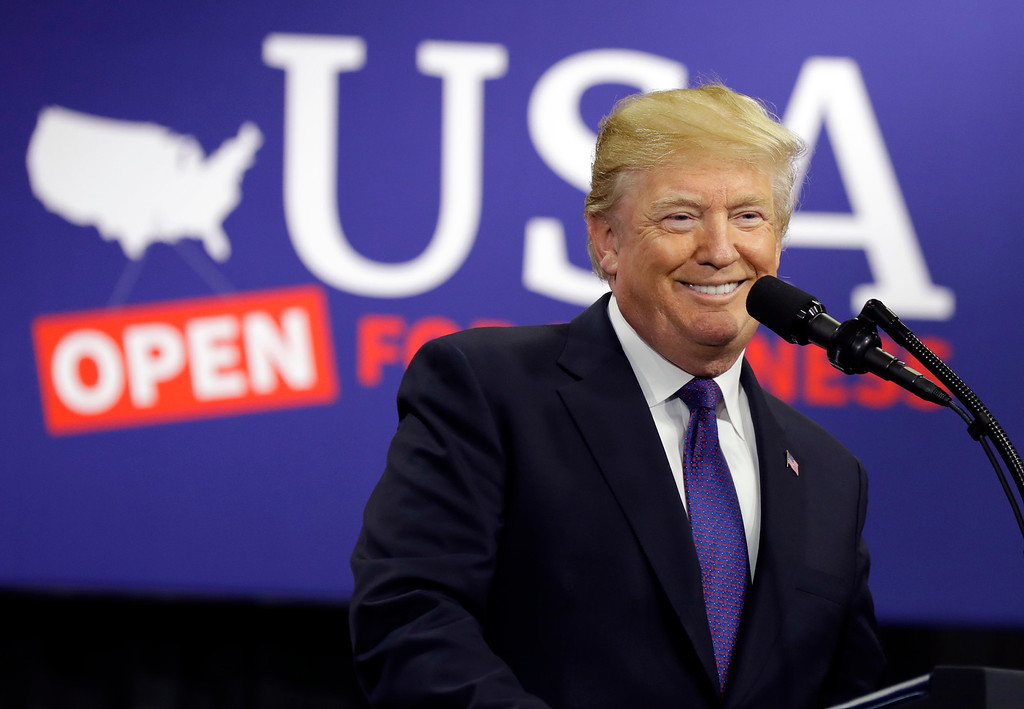 . President Donald Trump speaks on tax policy during a visit to Sheffer Corporation, Monday, Feb. 5, 2018, in Blue Ash, Ohio. (AP Photo/Evan Vucci)