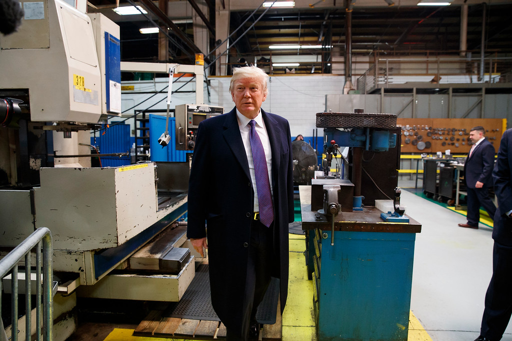 . President Donald Trump participates in a tour of Sheffer Corporation to promote his tax policy, Monday, Feb. 5, 2018, in Blue Ash, Ohio.(AP Photo/Evan Vucci)