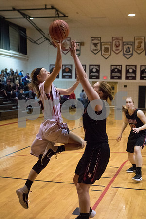 Sam Buckner for Shaw Media.<br /> Jade Milostan lays up the ball over an Earville-Leland defender on Monday February 6, 2017.
