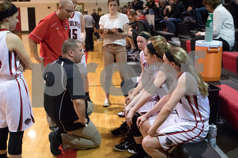 Sam Buckner for Shaw Media.<br /> Indian Creek Head coach Paul Muchmore talks to his team during a timeout on Monday February 6, 2017.