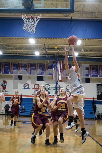 Sam Buckner for Shaw Media.<br /> Amanda Anderson shoots a layup off a break away against Richmond-Burton on Tuesday February7, 2017.