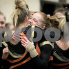 Sam Buckner for Shaw Media.<br /> Aleah Leman hugs Madison Hickey after Leman's floor routine on Wednesday February 8, 2017.