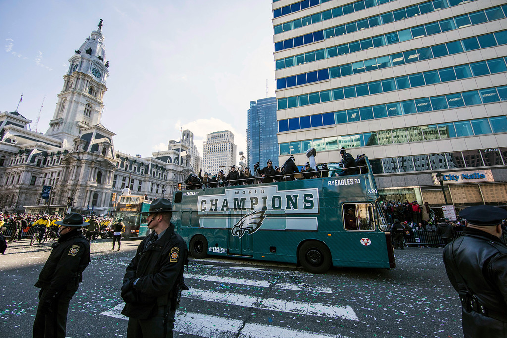 . The Philadelphia Eagles NFL football team Super Bowl victory parade passes Philadelphia City Hall, Thursday, Feb. 8, 2018, in Philadelphia. The Eagles beat the New England Patriots 41-33 in Super Bowl 52. (AP Photo/Christopher Szagola)