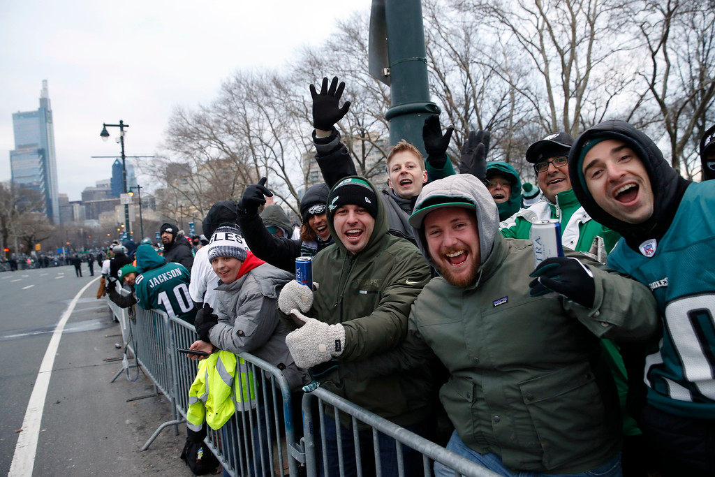 . Fans line Benjamin Franklin Parkway before a Super Bowl victory parade for the Philadelphia Eagles NFL football team, Thursday, Feb. 8, 2018, in Philadelphia. The Eagles beat the New England Patriots 41-33 in Super Bowl 52. (AP Photo/Alex Brandon)