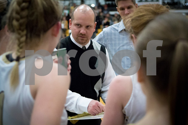 Sam Buckner for Shaw Media.<br /> Sycamore head coach Adam Wickness talks to the Spartans during a timeout in their girls basketball game on Thursday, February 9, 2017 at Sycamore High School in Sycamore.