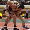 Jen Forbus - The Morning Journal<br />  Elyria's Jake Evans vies with Cincinnati La Salle's Trey Sizemore in the 170 pound division of the dual team state tournament.