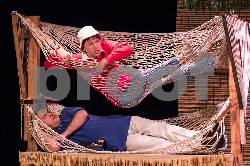 """Sam Buckner for Shaw Media.<br /> Andrew Russo plays gilligan and Michael Stiffon plays The Skipper in Stage Coach Theatre's production of """"Gilligan's Island"""" during the dress rehearsal on Tuesday February 13, 2018."""