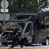 A Laketran bus caught fire on Route 306 in Mentor on Feb. 15.<br /> Kristi Garabrandt -  The News-Herald