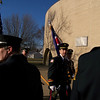 Carol Harper - The Morning Journal <br> A firefighter wearing dress blues carries an ax in preparation for a funeral for Mark Horton, Sheffield Township trustee, a retired Elyria firefighter and union representative for International Association of Fire Fighters Local 474, as well as secretary/treasurer for Ohio Professional Fire Fighters. Persons in fire service traveled Feb. 18, 2017, to Elyria Catholic High School, 725 Gulf Road, Elyria, from as far away as Washington state and Manitoba, Canada, said Doug Stern, director of communications and public relations for OPFF.