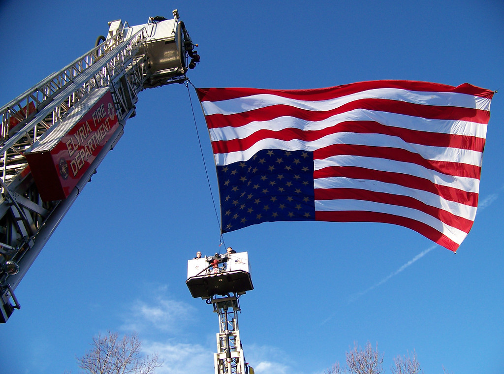 . Carol Harper - The Morning Journal <br> American flag honors retired Elyria firefighter Mark Horton, who also served as a Sheffield Township trustee and as a secretary/treasurer for Ohio Professional Fire Fighters.