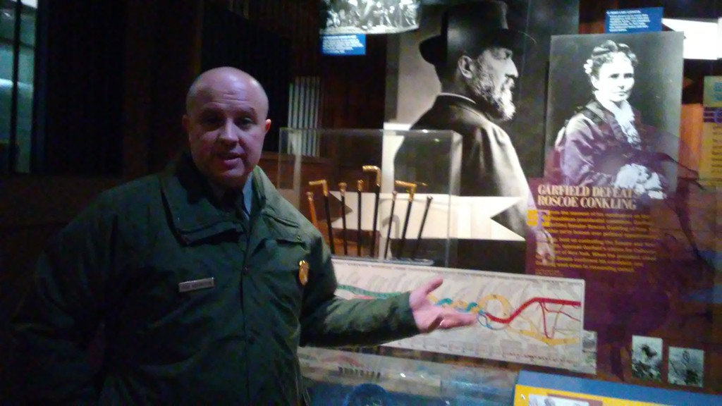 . Betsy Scott � The News-Herald <br> James A. Garfield National Historic Site Manager Todd Arrington shares some special attractions at the president\'s Mentor home and the visitor\'s center in preparation for President\'s Day.