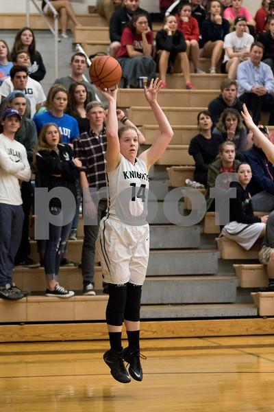 Sam Buckner for Shaw Media.<br /> Kaneland's Bryanna Kigyos shoots a jump shot during their girls basketball regional semifinal game against Rock Falls on Tuesday, Feb. 21, 2017 at Kaneland High School in Maple Park.
