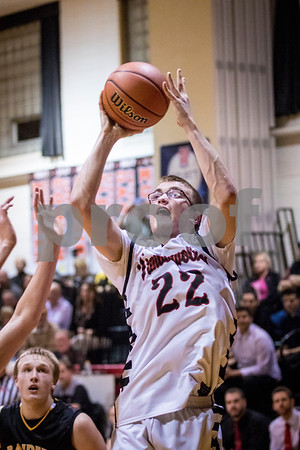 Sam Buckner for Shaw Media.<br /> Indian Creek's Nolan Govig shoots a jump shot during their regional semifinal boys basketball game against Ashton-Franklin Center on Wednesday, Feb. 22, 2017 at Indian Creek High School in Shabbona.  Indian Creek won the game 48-45 to advance to the regional final against DePue on Friday.