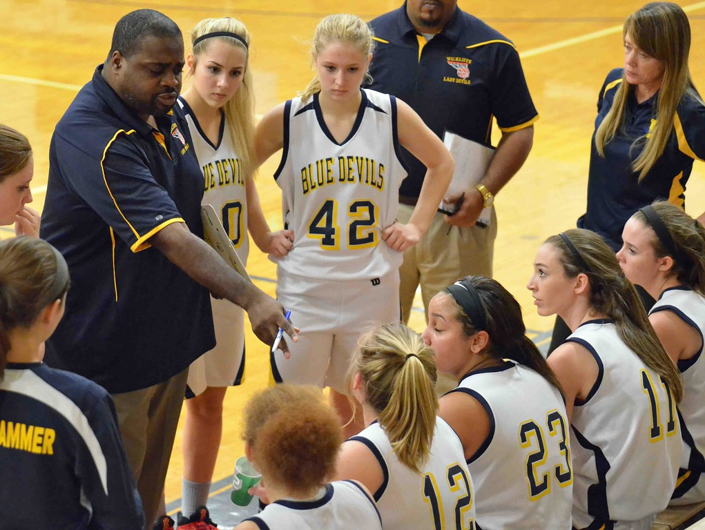 . Paul DiCicco - The News-Herald Wickliffe\'s Head Coach, Anthony Wilson, talking strategy with his team at the end of the first quarter.