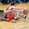 Milledgeville's Kyle Ottens and Indian Creek's Louise Faivre battle for a loose ball.