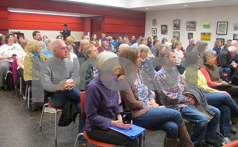 The crowd on hand for the Feb. 18 meeting of Action Steps for America at the DeKalb Public Library. The group is set to hold its fifth meeting at 10 a.m. today at the library, 309 Oak St.