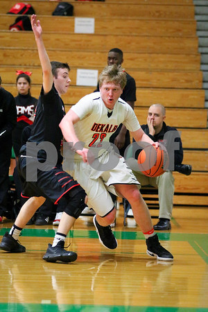Sam Buckner for Shaw Media.<br /> Michael Vilet drives past the Gelnbard East defender on Monday February 27, 2017.