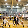 Sam Buckner for Shaw Media.<br /> Jake Hed  shoots a free throw as Kaneland and ACC players fight for rebounding position on Tuesday February 28, 2017.