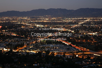 San Fernando Valley, Burbank city lights taken from Mulholland Drive.