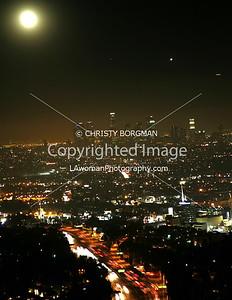Full moon over the lights of LA