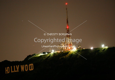 Hollywood sign, Mount Lee, during Earth Hour (not that the Hollywood sign is normally lit up...I just happened to be up there so I took the shot)