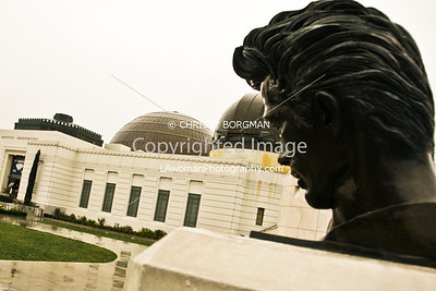 Griffith Park Observatory and the James Dean bust.
