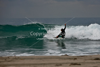 Surfer at Zuma Beach