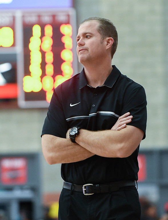 . Bishop Gorman\'s head coach, Grant Rice, shows his frustration in the first half.   (Photo by Michael Kitada)