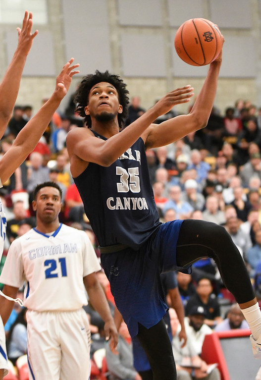 . Sierra Canyon\'s Marvin Bagley III scores during the first half of his team\'s game against Bishop Gorman at the Nike Extravaganza XXII at Mater Dei High School in Santa Ana.   (Photo by Michael Kitada)