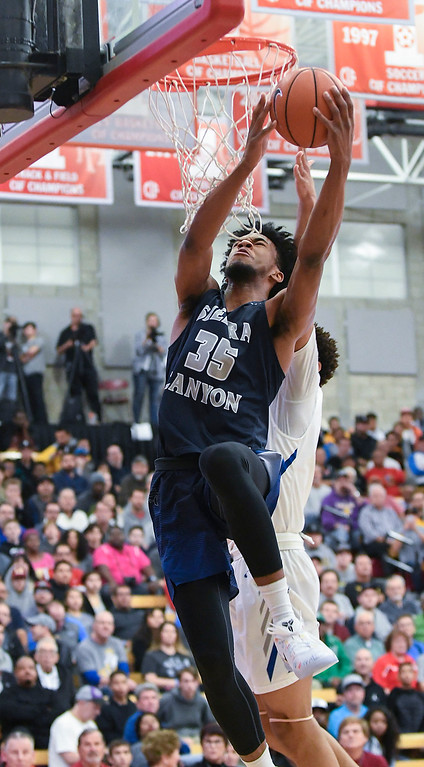 . Sierra Canyon\'s Marvin Bagley III goes strong to the basket to score in the first half against Bishop Gorman at the Nike Extravaganza XXII at Mater Dei High School in Santa Ana.   (Photo by Michael Kitada)