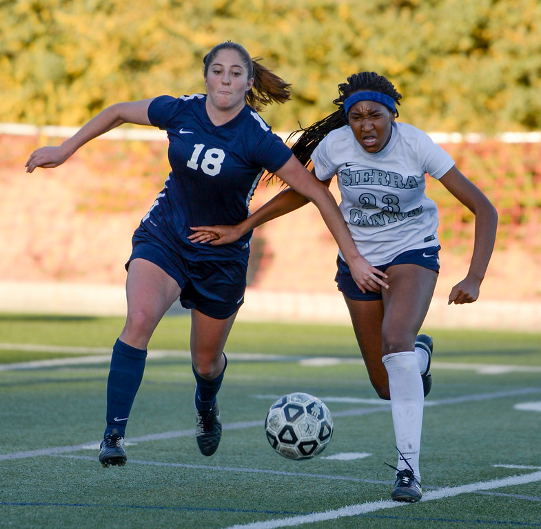 . Viewpoint\'s Maya Sandel, #18,and Sierra Canyon�s Ryley Tanner, #23, battle for ball control during game action at Sierra Canyon Thursday, March 9, 2017.  Sierra Canyon defeated Viewpoint 3-0.    (Photo by David Crane, Los Angeles Daily News/SCNG)