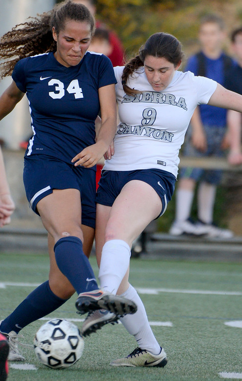 . Viewpoint\'s Sophia Stills, #34, and Sierra Canyon�s \\Emmi Eisner, #9, battle for the ball during game action at Sierra Canyon Thursday, March 9, 2017.  Sierra Canyon defeated Viewpoint 3-0.    (Photo by David Crane, Los Angeles Daily News/SCNG)