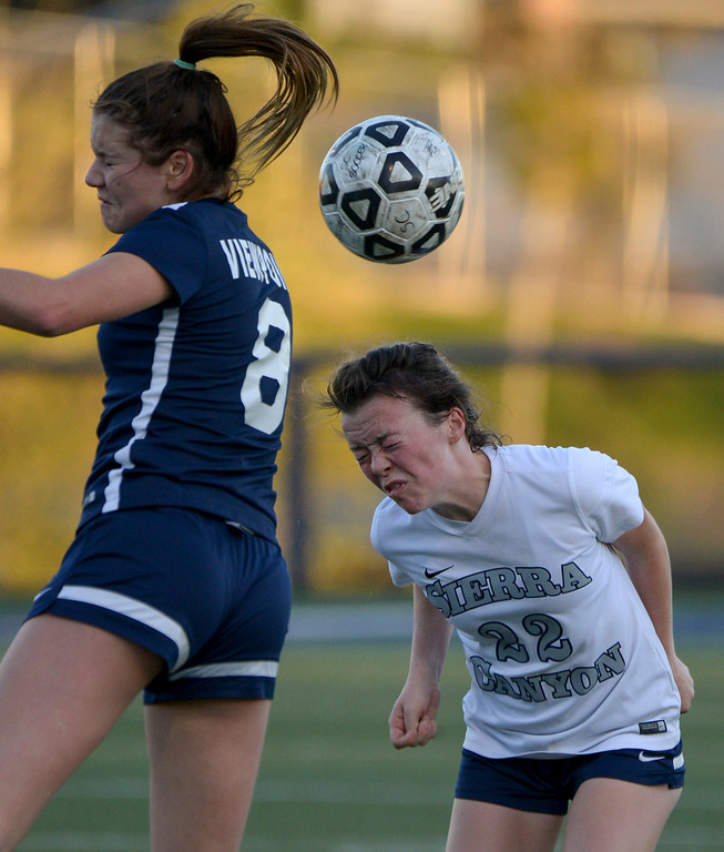 . Viewpoint\'s Isabella Devoto, #8, comes up short as Sierra Canyon�s Jazy Campbell, #22, gets the header during game action at Sierra Canyon Thursday, March 9, 2017.  Sierra Canyon defeated Viewpoint 3-0.    (Photo by David Crane, Los Angeles Daily News/SCNG)