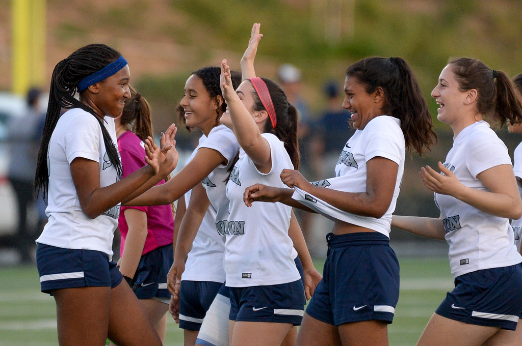 . Sierra Canyon�s Ryley Tanner, left, greets teammates after defeating Viewpoint 3-0 at Sierra Canyon Thursday, March 9, 2017.  Tanner scored two of the three goals in the game.     (Photo by David Crane, Los Angeles Daily News/SCNG)